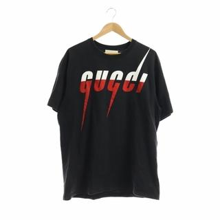 Gucci - グッチ 半袖Tシャツ カットソー プリント ロゴ L ブラック ホワイト レッド