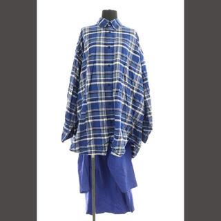 バレンシアガ(Balenciaga)のバレンシアガ ロングシャツ ネルシャツ ビッグサイズ ドッキング チェック 長袖(シャツ/ブラウス(長袖/七分))