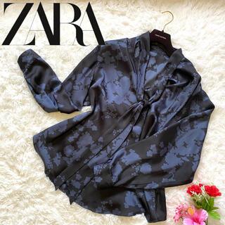 ZARA - 【ZARA】ザラ ネクタイ付き長袖ブラウス レディース 総柄