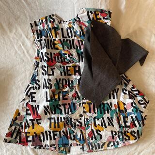 Caramel baby&child  - セール 廃盤 アルファベット ノースリーブ ワンピース グレー スカーフ付き