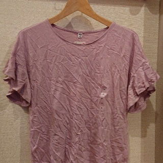 ユニクロ(UNIQLO)のユニクロ  フリルスリーブTシャツ【新品・タグ付き】Msize❤️ ゆうパケット(Tシャツ(半袖/袖なし))