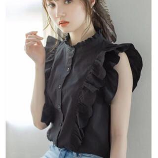 GRL - GRL グレイル 花柄刺繍フリルノースリーブシャツ ブラック