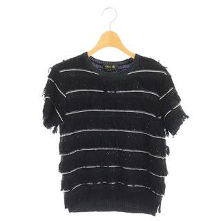 ドゥロワー(Drawer)のドゥロワー 7Gフリンジスパングル ニット セーター 半袖 ボーダー 1 黒(その他)