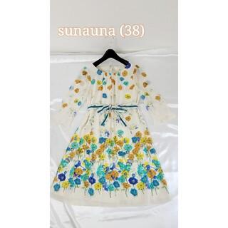 スーナウーナ(SunaUna)の美品♪(38) sunauna リボン付きワンピース(ひざ丈ワンピース)