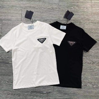 PRADA - PRADA#031902 ロゴ Tシャツ 半袖 黒白 男女兼用 新品