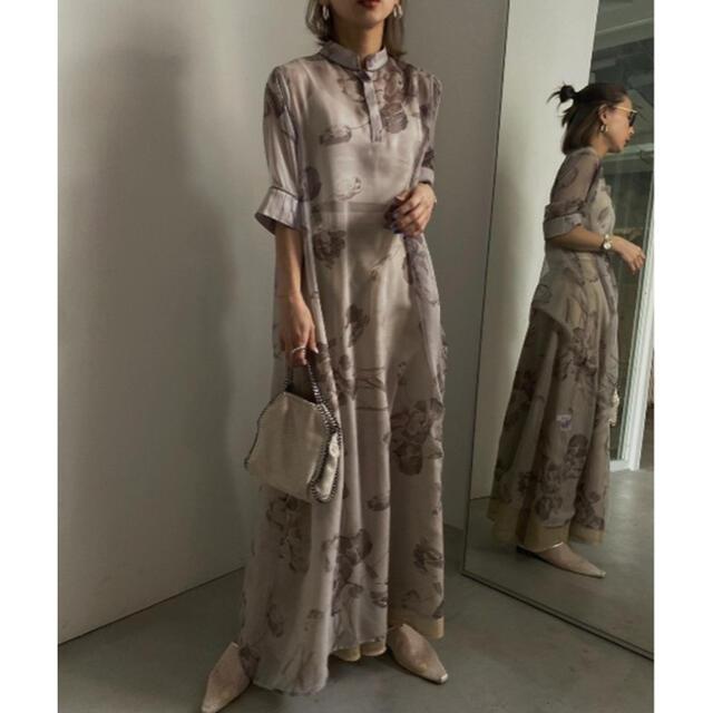 Ameri VINTAGE(アメリヴィンテージ)のISLA PIPING SHEER DRESS レディースのワンピース(ロングワンピース/マキシワンピース)の商品写真