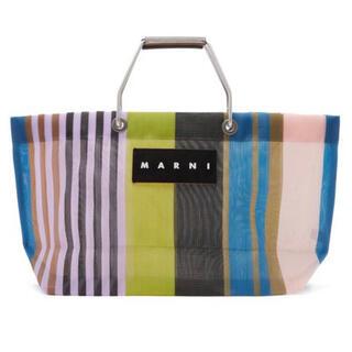 マルニ(Marni)の新品未使用 Marni ストライプ メッシュバッグ マルチグリーン(トートバッグ)