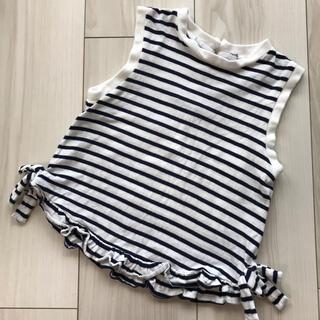 petit main - プティマイン 女の子 90 ボーダー ノースリーブ Tシャツ