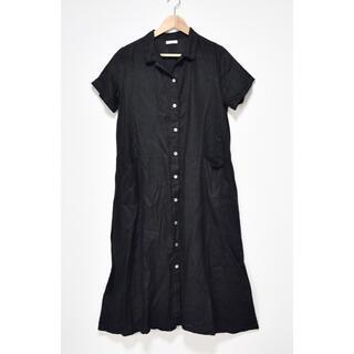 フォグリネンワーク(fog linen work)のfog linen work 美品 リネン100 ロングシャツワンピース 黒(ロングワンピース/マキシワンピース)