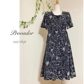 q.b.c - プロバドール ◆ 線画花柄カシュクールワンピース ◆