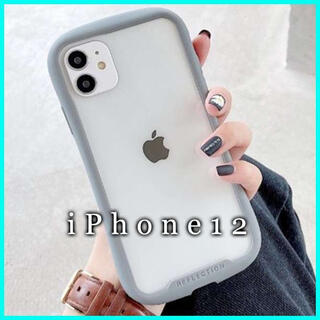 iPhone12 ケース クリア ガラス カバー スマホケース 韓国 グレー F