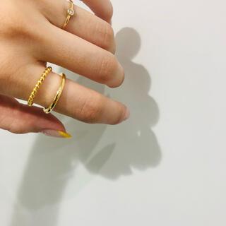 ete - 056◇ ツイスト ダブルライン ゴールド リング 指輪 韓国 レディース