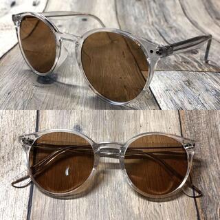 クリアフレーム ライトブラウン ボストン サングラス ウェリントン 眼鏡