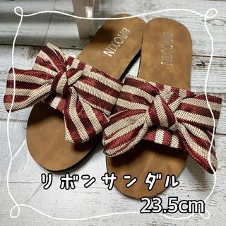 レディース サンダル ぺたんこ リボン   韓国 オルチャン 23.5cm