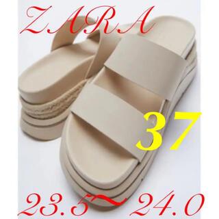 ZARA - ZARA ラバーフィニッシュ フラットスポーティサンダル 23.5cm 新品