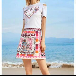 スナイデル(snidel)のTシャツ スカート 刺繍 ピンク ホワイト トップス セットアップ(セット/コーデ)