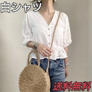 【新品 未使用】送料無料 人気 シャツ 白シャツ レディース 飾り彫り オシャレ