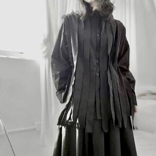 モード系 長袖シャツ ユニセックス リメイク風 レイヤード V系 ゴシック 黒