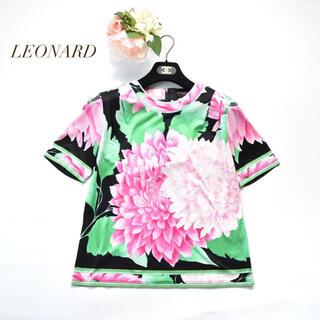 LEONARD - LEONARD レオナール 圧巻 フラワープリント トリム トップス 綿100%