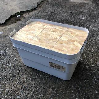 ムジルシリョウヒン(MUJI (無印良品))の大+小サイズの2台セット アクリル塗装済み 無印良品 頑丈収納ボックス 天板(テーブル/チェア)
