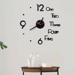 【新品】3Dミラー ウォールクロック 掛け時計 ブラック ウォールステッカー