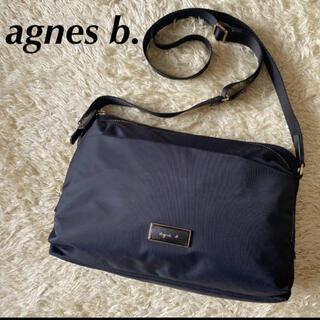 agnes b. - アニエスベー ショルダーバッグ ロゴ クロスボディ ナイロン ネイビー