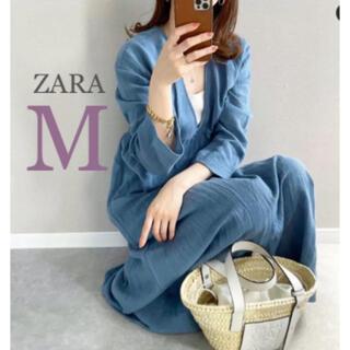 ZARA - 【新品・未使用】ZARA リネンブレンド テクスチャー ワンピース  M