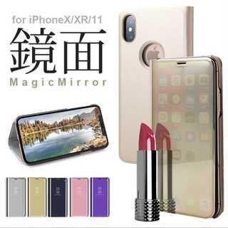 大人気☆鏡面 手帳型 ミラー iPhoneケース クリア 手帳 スマホ