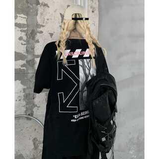 オフホワイト☆バックプリント ストリート系 ビックロゴ ユニセックス  Tシャツ