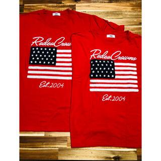 ロデオクラウンズワイドボウル(RODEO CROWNS WIDE BOWL)のRODEO CROWNS メンズXL レディースFree カップル 赤 Tシャツ(Tシャツ/カットソー(半袖/袖なし))
