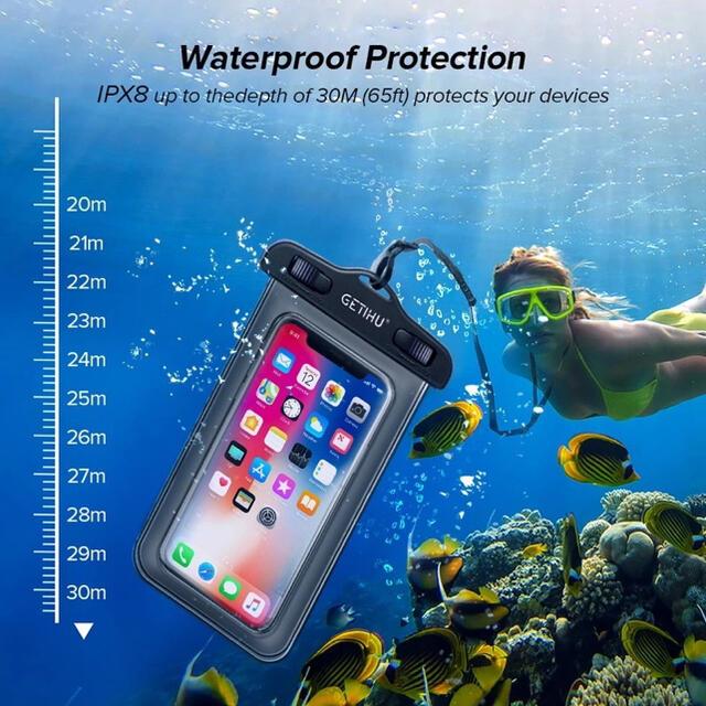🍓防水ケース 防水携帯ケース IPX8 水中撮影 防水ポーチ パープル スマホ/家電/カメラのスマホアクセサリー(モバイルケース/カバー)の商品写真