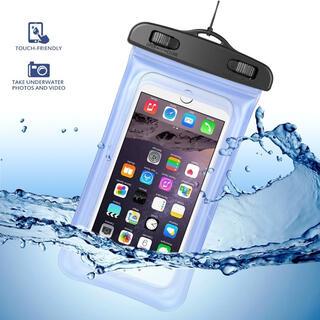🍓防水ケース 防水携帯ケース IPX8 水中撮影 防水ポーチ パープル