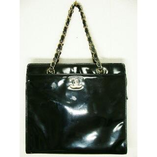 CHANEL - シャネルエナメルパテントターンロックCCロゴマークチェーンスクエアハンドバッグ鞄