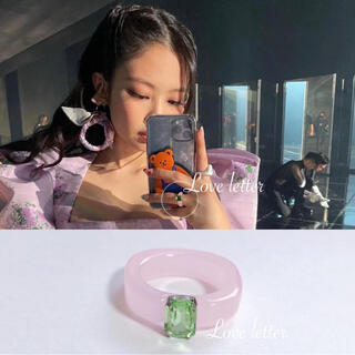 No.763 クリアピンクビジューリング 指輪 韓国 BLACKPINKジェニ