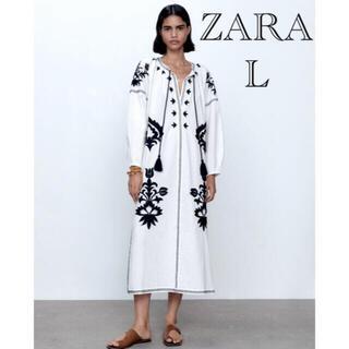 ZARA - ZARA ザラ刺繍入りミディ丈ワンピース 刺繍ワンピース ザラロングワンピース