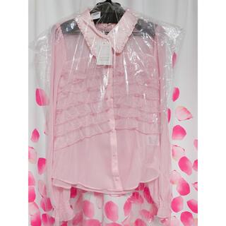 エミリアウィズ(EmiriaWiz)のエミリアウィズ ピンク フリルシャツ Mサイズ 新品 未使用 未開封 タグ付き(シャツ/ブラウス(長袖/七分))