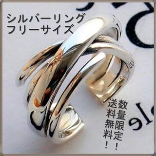 【新品】指輪 人気の重ね付け風 フリーサイズ シルバー925 個性的 送料無料
