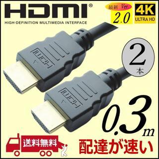 高品質ハイスピードVer2.0 [2本] 0.3m HDMIケーブル 送料無料(その他)