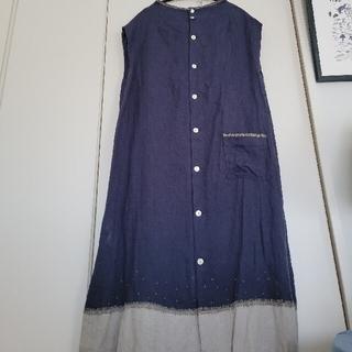 mina perhonen - リゼッタLisette/スモーキーネイビー裾刺2way繍リネンワンピース美品