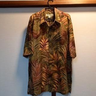 TORI RICHARD綿アロハシャツ緑、薄茶、エンジ葉柄M新品未使用