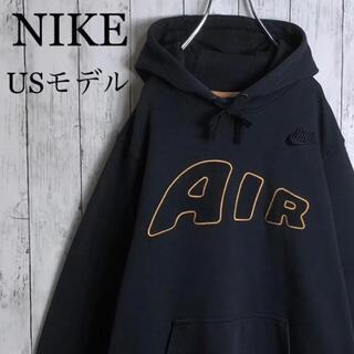 NIKE - 【希少デザイン】ナイキ USモデル デカロゴ 刺繍ロゴ モアテン パーカー 黒