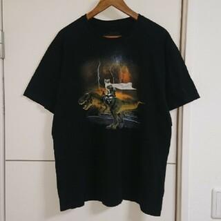 アニマルプリント Tシャツ 古着 猫 ネコ 恐竜