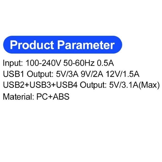 新品 USB AC充電器 USB-A-4ポート コンセント ホワイトiphone スマホ/家電/カメラのスマートフォン/携帯電話(バッテリー/充電器)の商品写真