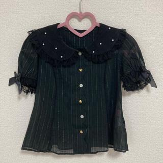 アンジェリックプリティー(Angelic Pretty)のAngelic Pretty Airyスカラップブラウス 黒(シャツ/ブラウス(半袖/袖なし))