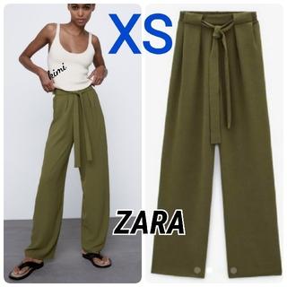 ZARA - ZARA (XS カーキ) フルイドワイドレッグパンツ