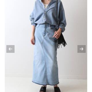 フレームワーク(FRAMeWORK)のフレームワーク ストレッチデニム切り替えタイトスカート ブルー 40サイズ 新品(ロングスカート)
