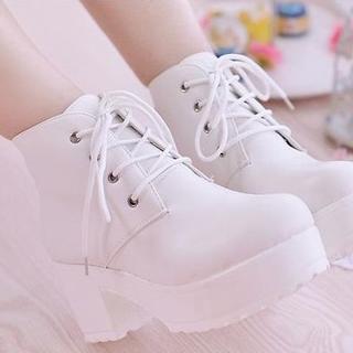 新品×厚底ブーツ×白×黒×22.5~24.5(ブーツ)