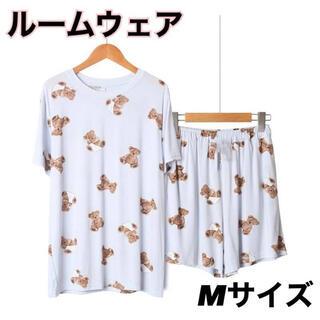 ルームウェア くま ジェラピケ風 パジャマ 上下セット 半袖 Mサイズ