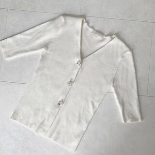 PROPORTION BODY DRESSING - プロポーション ビジュースカラリブカーディガン5分袖 ホワイト