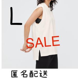 ユニクロ(UNIQLO)の新品タグ付 エアリズムコットンオーバーサイズTシャツ(ノースリーブ) マメ L(Tシャツ(半袖/袖なし))